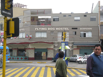 Miraflores, Lima Peru.  The Flying Dog is long rumored to be a classic hostel. This was taken from Parque Kennedy.