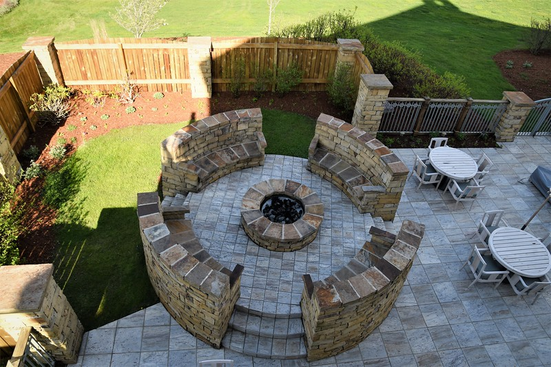 Fire pit on southern exposure of lodge.