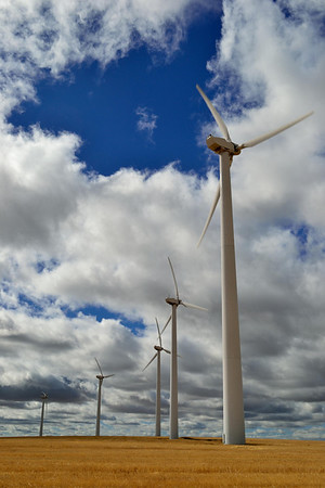 There are scads of wind generators in eastern Oregon, on the way to the Columbia River.