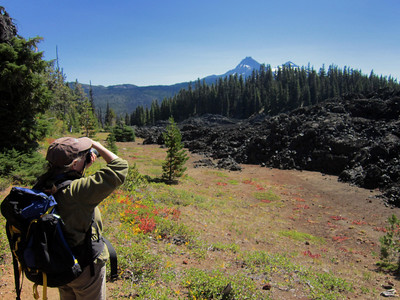 At the edge of the lava flow.