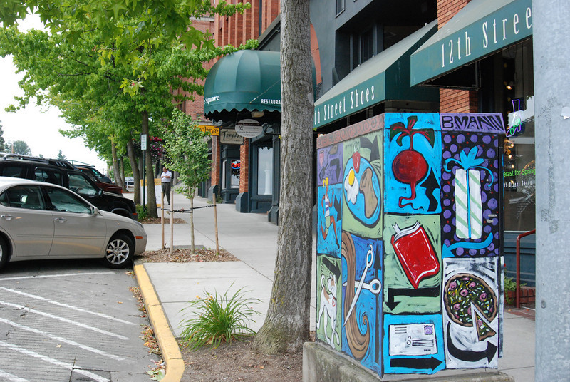 Fairhaven is an arts community located on Bellingham Bay. This is a utility box....