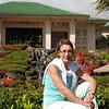 Kim in the back garden at the Grand Hyatt, Lihue, Kauai