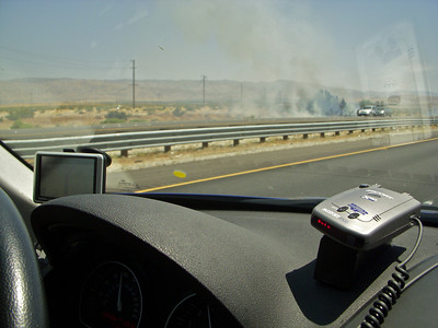 A fire had started next to the freeway as we arrived near palm Spring on I10, think perhaps an accident started it.