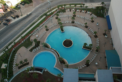 Main floor pools view from the 21st floor.