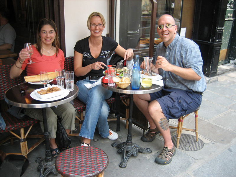 Ed, Annette and Petra at lunch in Paris