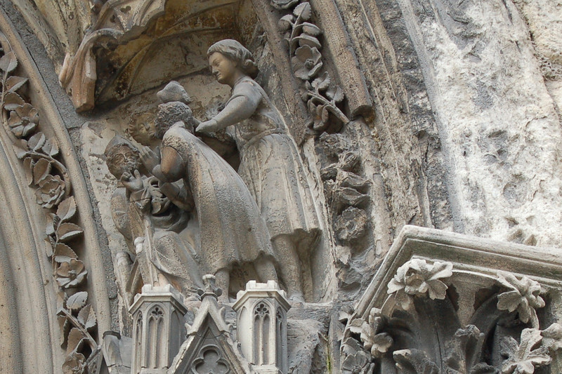 Detail of Doorway at Notre-Dame: Jesus and the Children