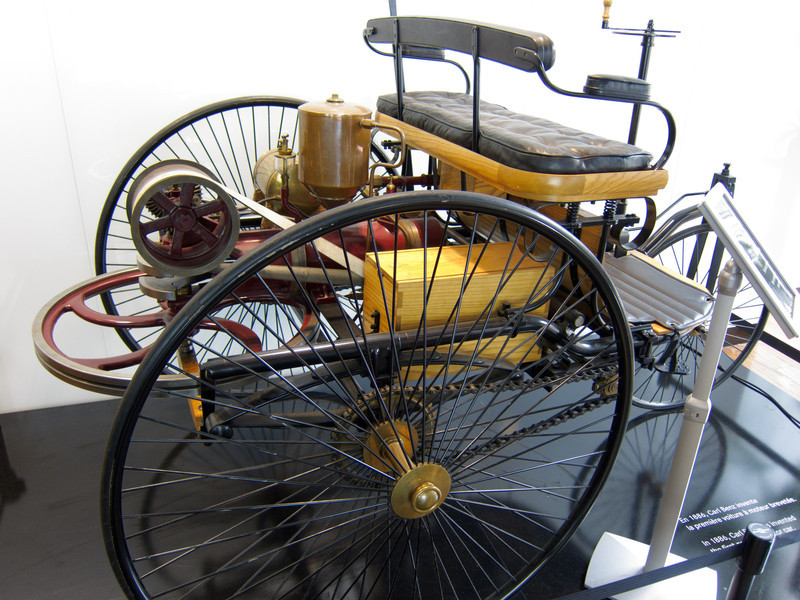 """A """"horseless carriage"""" that they had at the Mercedes shop by the Arc de Triomphe"""
