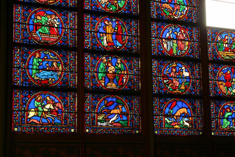 Stained glass window at Notre Dame Cathedral