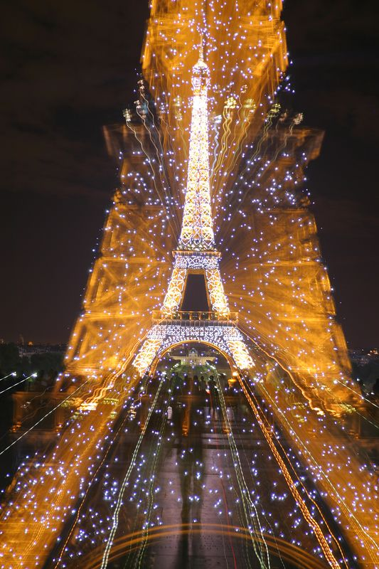 Eiffel Tower, changing the focal length with shutter open