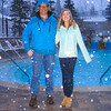 Vance and Rebecca in snow by pool at Deer Valley.