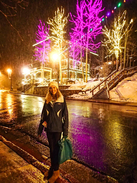 Rebecca by purple lights, Park City Main Street.
