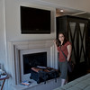 A look at the fireplace, tv, and armoir in our room.