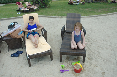 Monica and Mia kick back on resort property.