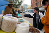 A street-side popcorn vendor