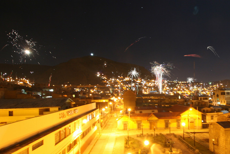 Fireworks all over Puno to celebrate Christmas.
