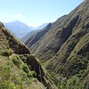 On the Urquillos Inca Trail, looking down toward Urquillos town