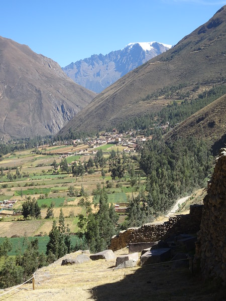 Looking down from Ollantaytambo. The ramp you see at lower right is where they hauled the blocks up.