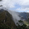 15 minutes  into our hike up Huayna Picchu, looking at a sunlit spot in the valley below