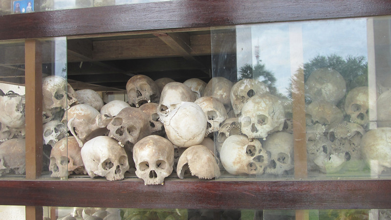 Skulls in side the Choeung Ek Memorial.<br /> Victims of the Khmer Rouge.