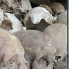 "Skulls on display inside the Choeung Ek ""Killing Fields"" Memorial."