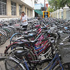 Bicycles parked next to a school - Phnom Penh, Cambodia