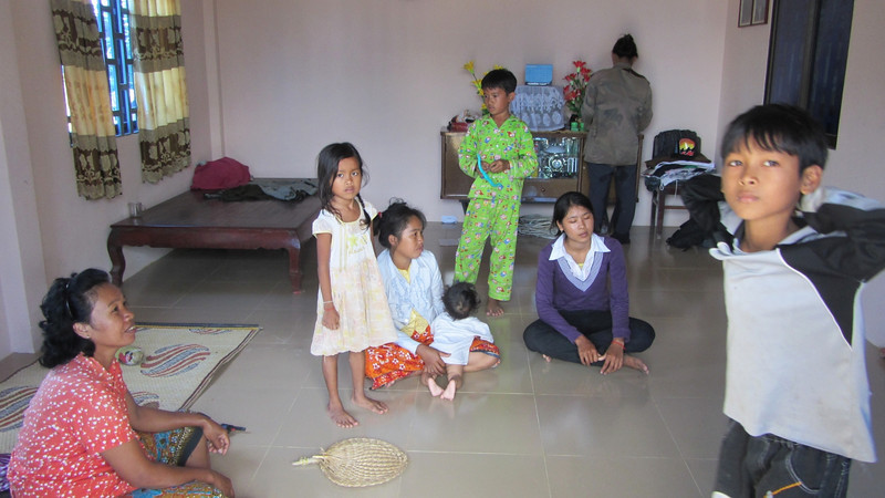 My tuktuk drivers family in their home, outside of Phnom Penh.