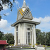 The Choeung Ek memorial stupa. In memory of the those killed in the Killing Fields of the Khmer Rouge.