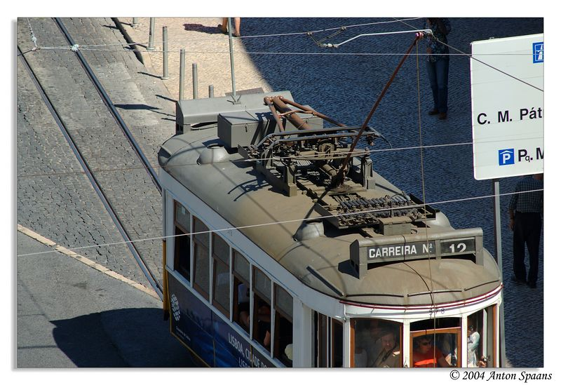 Tram from balcony at suite of Hotel Mundial Lisboa