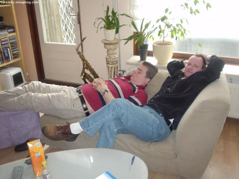 The next morning, Marcel and Arend, intimately lying on the couch watching a movie