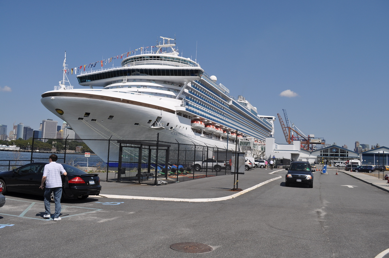 Brookly Pier (Red Hook) - 7 days parking total approx. $144.00.  No problem getting in or out but be sure to either leave ticket receipt in car or in a secure place on your person.  You must pay at a machine in the front of the terminal or near the entrance/exit of the parking lot before you drive off.  We dragged our luggage to the car and while Penny packed the trunk, I went to attendant and paid fee via credit card.