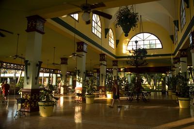 Open air lobby. No walls, just a big pavilion