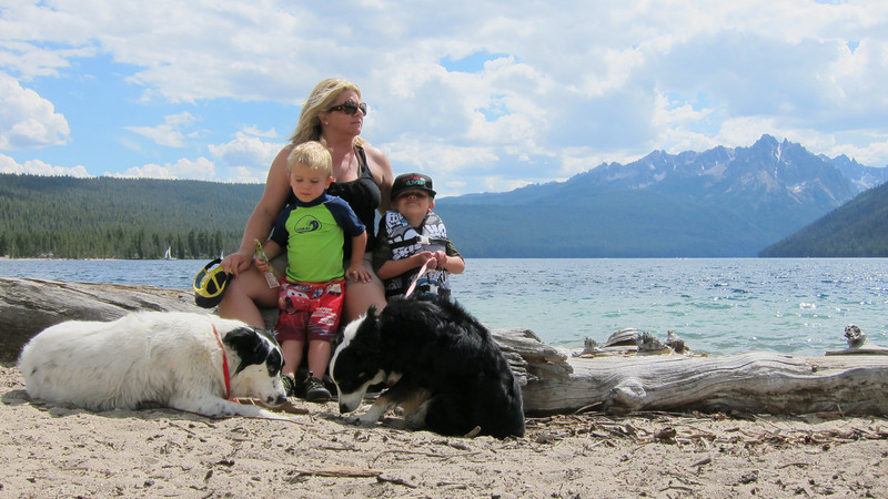 @ the dog friendly beach on the shore of Redfish Lake