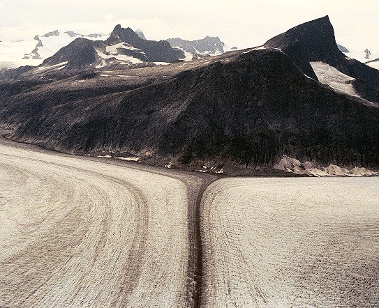 The Twin Glaciers of the Juneau Icefield, from the helicopter.