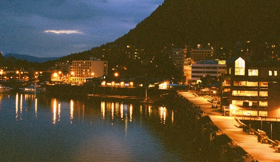 Downtown Juneau at about 11 PM.