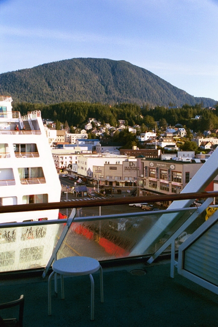 View from our lanai toward Skagway at the dock. Skagway was the jumping-off point to the gold discoveries in the Yukon.
