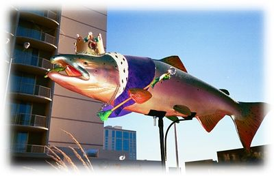A painted King Salmon displayed in downtown Anchorage. The Painted Salmon art project is similar to the Painted Ponies (Santa Fe, NM) and the Painted Dinosaurs (Albuquerque, NM) projects.