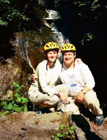 Day 11. Last port of call Ketchikan. We rode mountain bikes several miles out of town on the southern-most road in Alaska -- to the end of the road. Here, we're stopped for a short break near a waterfall. The sun was bright and it was pretty warm on the bikes.