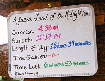 Day 2. Eighteen hours and 39 minutes of daylight near Fairbanks on Monday, July 28th. The cool, damp weather is welcome after the 90+ days in Littleton, Colo.