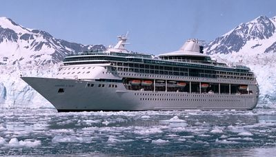 A Royal Caribbean photo of the Legend of the Seas cruising Disenchantment Bay with the Hubbard Glacier in the background. Note that Rick would have taken this photo himself if could have found the keys to the tender.