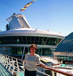 We boarded the Legend of the Seas about 4 PM in Seward. Wendy is on deck 9, with the Viking Crown Lounge (deck 11) behind her. Looks like the bridge of the Starship Enterprise.