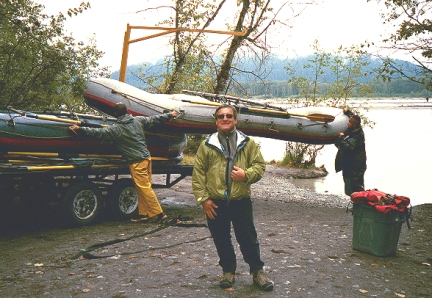 """Back on the shore after we floated down the river through the Alaska Chilkat Bald Eagle Preserve in a rubber boat. There was the occassional """"liquid sunshine"""" episode during the float trip where we saw lots of Bald Eagles."""