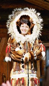 Wendy models a beautiful coat. Actually, she tried it on virtually (photo manipulated by Rick)