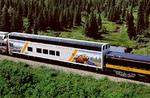 "Day 3. All aboard! We board the Royal Caribbean (RC) Wilderness Express railcar. There were two connected to the Alaska Railway, which serves locations between Fairbanks and Seward to the south. This photo was ""borrowed"" from the RC website. These private RC railcars were built Colorado Railcar in Ft. Lupton, Colorado!"