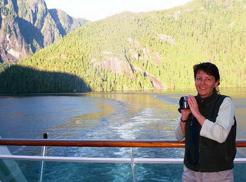 Wendy observes the wake as we leave Misty Fjords.
