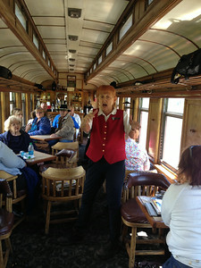 Throughout the journey on the Durango-Silverton line, the guide in our Parlor Car told stories and explained what we were passing.  She did a wonderful job, also serving us muffins and drinks.  (I wish I'd caught a more flattering picture of her.)