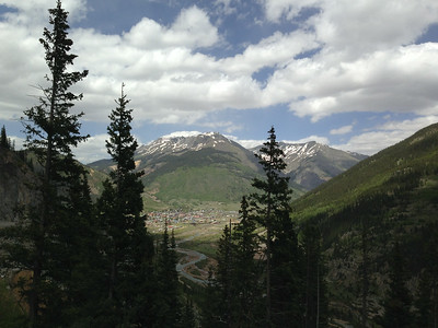 View of Silverton, from a road in mountains above.