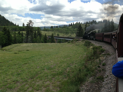 Approaching Lobato Trestle -- second highest bridge on the line, 100 feet above Wolf Creek.