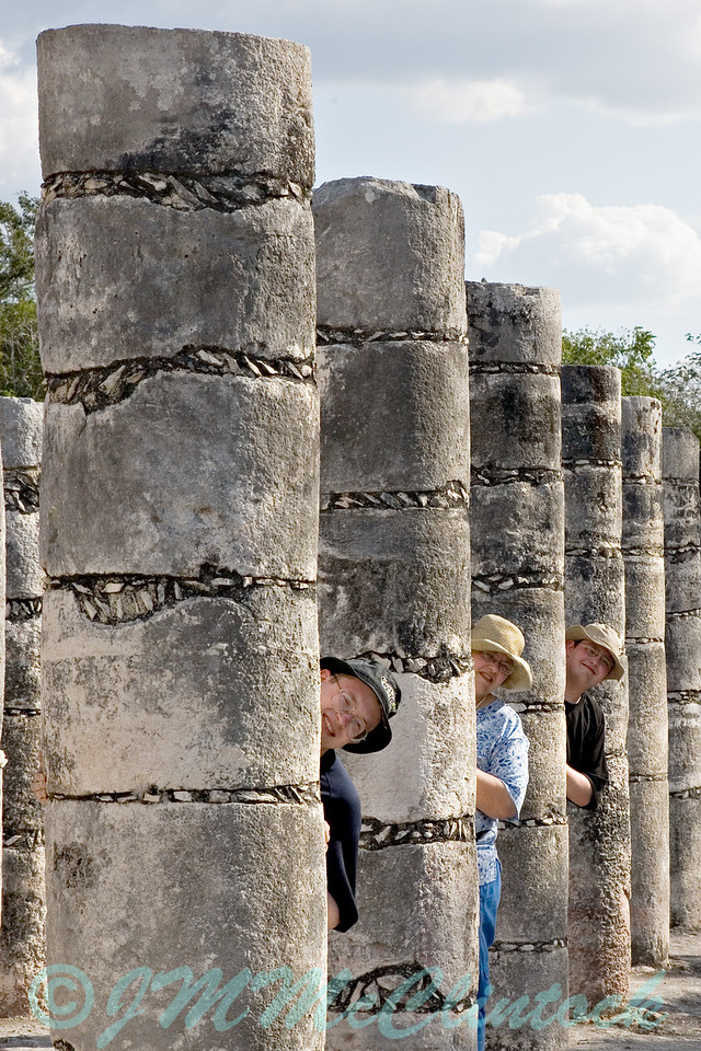 Pillars of the community. Pillars in the merchant area of the Mayan ruins in Chichen Itza, Mexico.