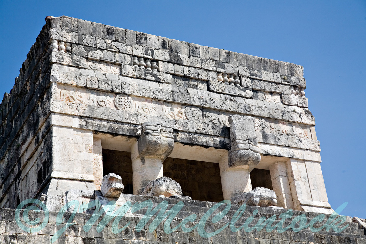 The top of the Mayan pyramid at Chichen Itza.