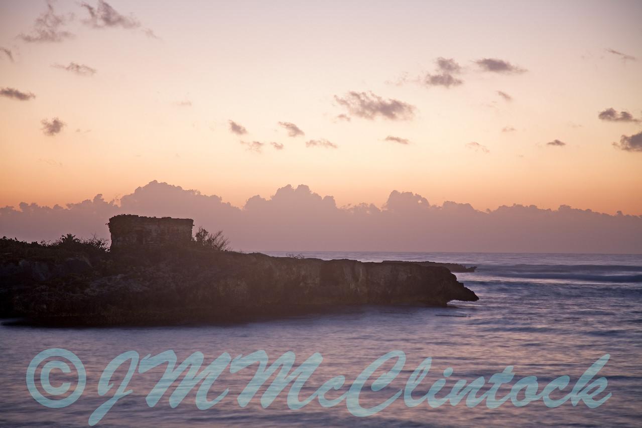 Sunrise at the spanish ruins.  Beach at Grand Sirenis Resort.  Mayan Riviera, Mexico.